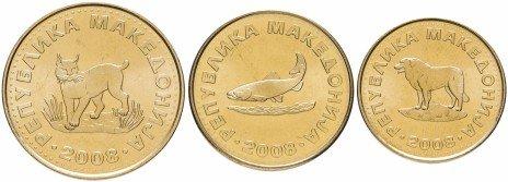 купить Македония годовой набор из 3-х монет 1, 2 и 5 денари 2008