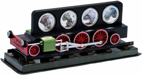 """купить Ниуэ набор из 4-х монет 2 доллара 2010 """"Легендарные паровозы"""" в подарочном футляре"""
