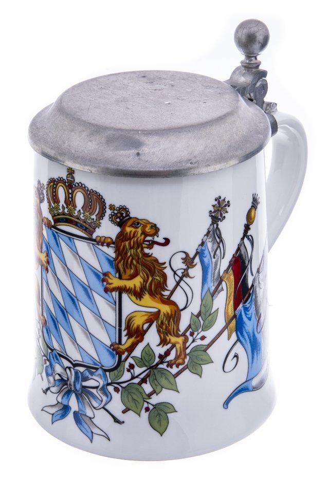 купить Кружка пивная с геральдическим изображением, фарфор, деколь, олово, Германия,  1980-2000 гг.
