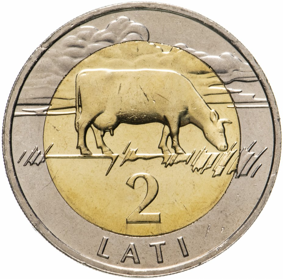 купить Латвия 2 лата 2009 Корова