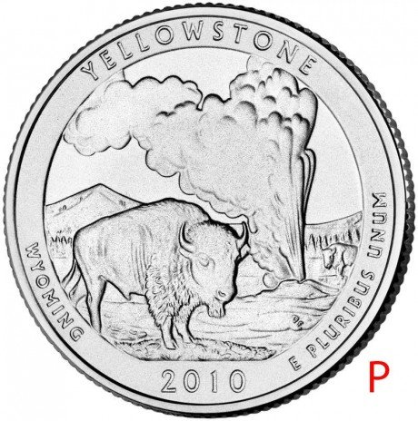 купить США 25 центов (квотер) 2010 P — Йеллоустонский национальный парк