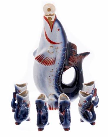 купить Набор из штофа и 6 стопок в виде рыб, фарфор, роспись, Полонский завод художественной керамики, Украина, 1996-1998 гг.