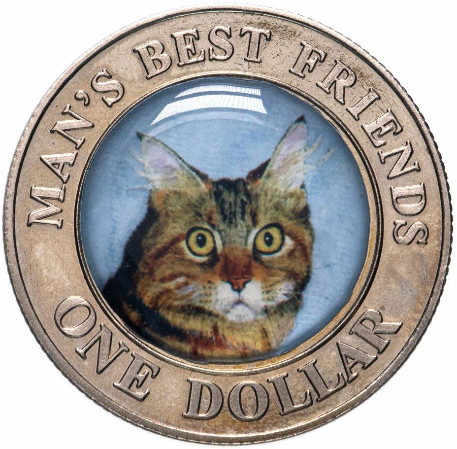 """купить Острова Кука 1 доллар 2003 """"Лучшие друзья человека - кошка"""""""