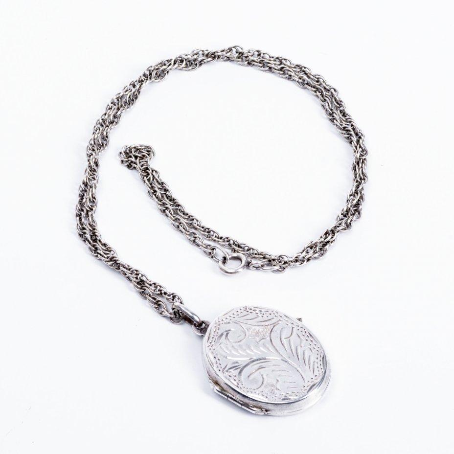 купить Кулон для фотографий с растительным орнаментом и цепочкой, серебро 925 пр., гравировка, Западная Европа, 1960-1990 гг.