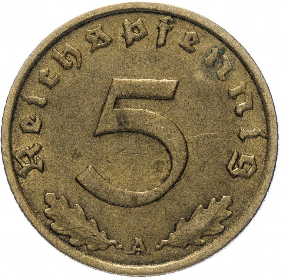 """купить Фашистская Германия (Третий Рейх) 5 рейх пфеннигов 1937 """"А"""""""