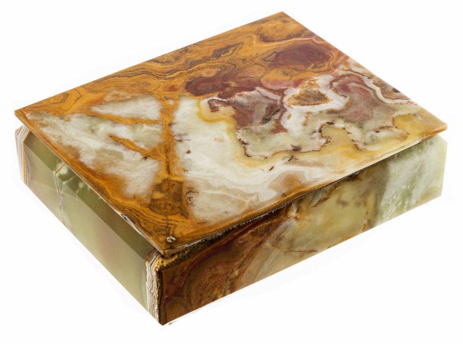купить Шкатулка из оникса с латунными петлями, оникс, ткань, латунь, Индия, 1970-1990 гг.