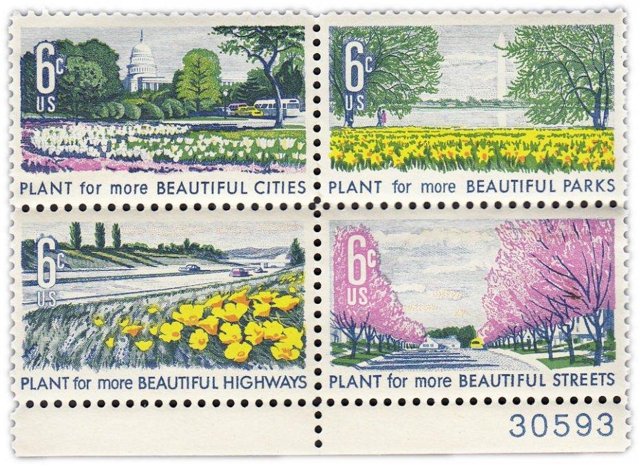 """купить США 1969 набор из четырёх марок 6 центов """"Красивая Америка"""""""