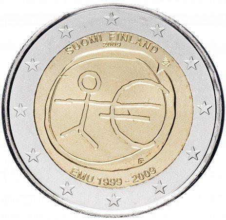 """купить Финляндия 2 евро 2009 """"10 лет Экономическому и валютному союзу"""""""