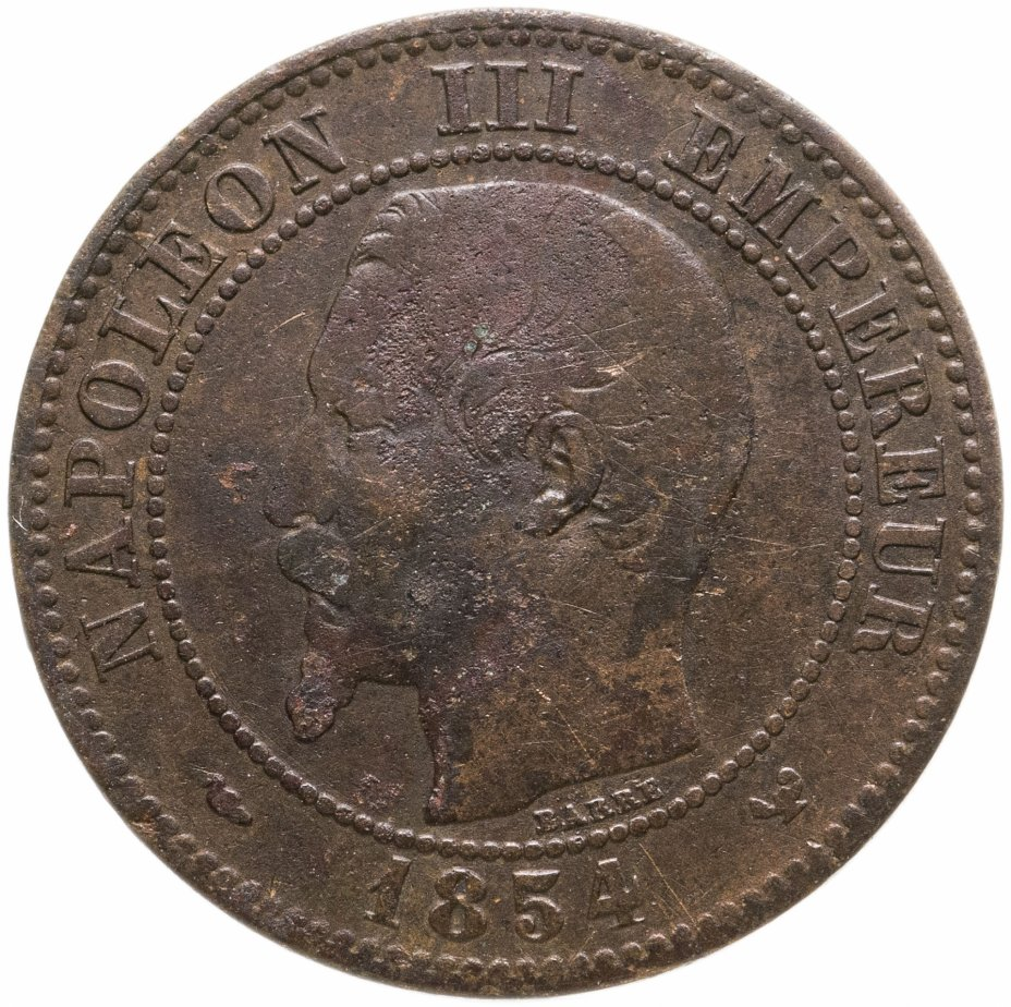 """купить Франция 2сантима (centimes) 1854 W, знак монетного двора: """"W"""" - Лилль"""