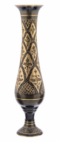 купить Ваза декорированная в восточном стиле с гравировкой в виде цветов, латунь, ручная работа, Индия, 1970-2000 гг.
