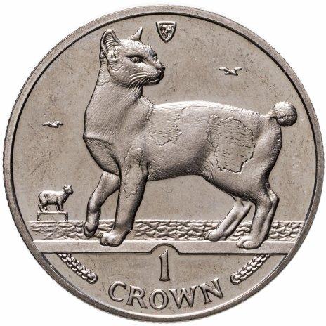 """купить Остров Мэн 1 крона (crown) 1994 """"Кошки - Японский бобтейл"""""""