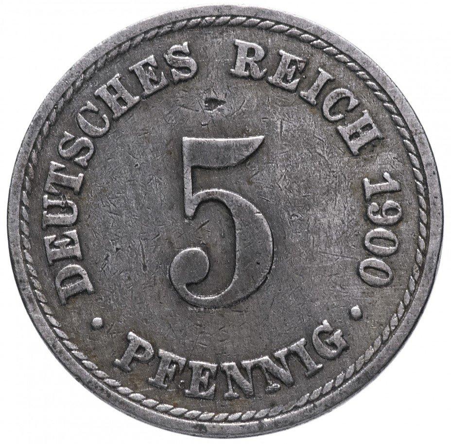 """купить Германия 5 пфеннигов (pfennig) 1900 A знак монетного двора: """"A"""" - Берлин"""