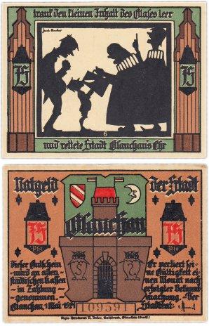 """купить Германия (Саксония: Глаухау) 75 пфеннигов 1921 """"Богатство и бедность"""" (436.2/B1/6)"""