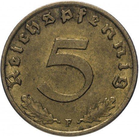 """купить Фашистская Германия (Третий Рейх) 5 рейх пфеннигов 1939 """"F"""""""