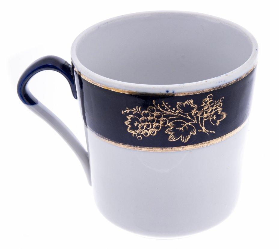 купить Чайная чашка с декором в виде винограда, фарфор, кобальт, золочение, Барановский фарфоровый завод (Барановка), СССР, 1970-1991 гг.