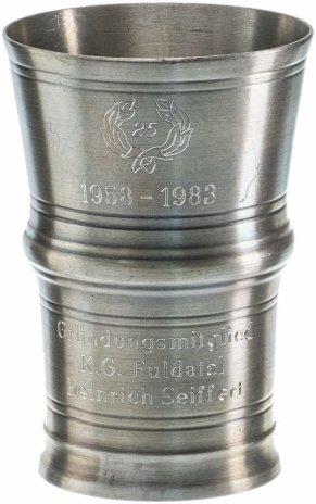 """купить Бокал для вина юбилейный, олово, гравировка, фирма """"SKS"""", г. Зундерн, Германия, 1980-1990 гг."""