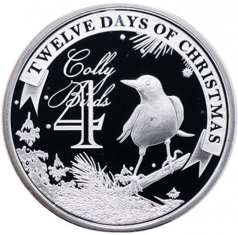 """купить Остров Ниуэ 2 доллара 2009 """"12 дней рождества: день 4-й, чёрные дрозды"""""""