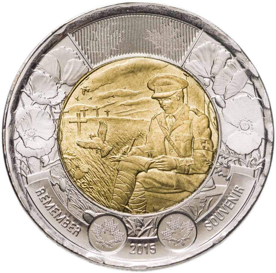 """купить Канада 2 dollars (доллара) 2015 100 лет стихотворению """"На полях Фландрии"""""""