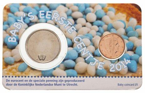 """купить Нидерланды 1 евро цент и жетон 2014 """"Первый цент ребенка - мальчик"""" BU официальный блистер"""