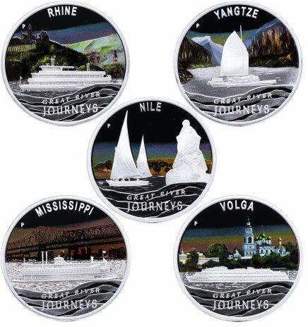 """купить Тувалу набор из 5 монет 1 доллар 2010 """"Речные путешествия"""" в футляре, с сертификатом"""
