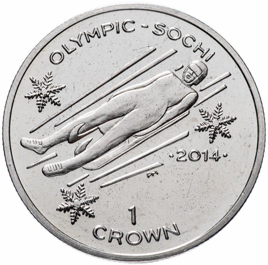 """купить Остров Мэн 1 крона (crown) 2013 """"XXII зимние Олимпийские Игры, Сочи 2014 - санный спорт"""""""