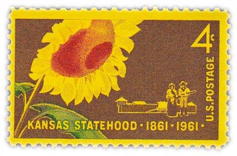 "купить США 4 цента 1961 ""100 лет штату Канзас"""