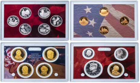 купить США набор из 18 монет proof-сет в 4 жестких запайках 2009 с сертификатом
