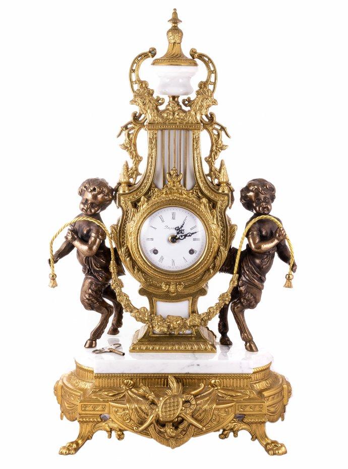 """купить Часы каминные """"Imperial"""" украшенные фигурами маленьких фавнов, бронза, камень, металл, стекло, фирма """"Farbel"""", Италия, 1970-1990 гг."""