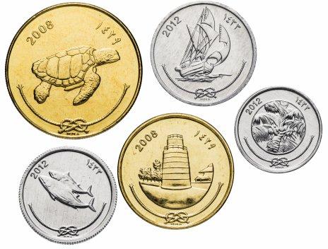 купить Мальдивы набор из 5-ти монет 2008-2012, случайная дата
