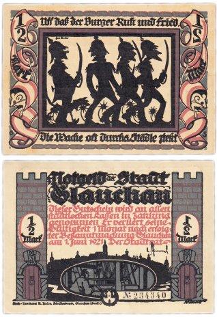 """купить Германия (Саксония: Глаухау) 1/2 марки 1921 """"Милитаризм"""" (436.3/B1/1)"""