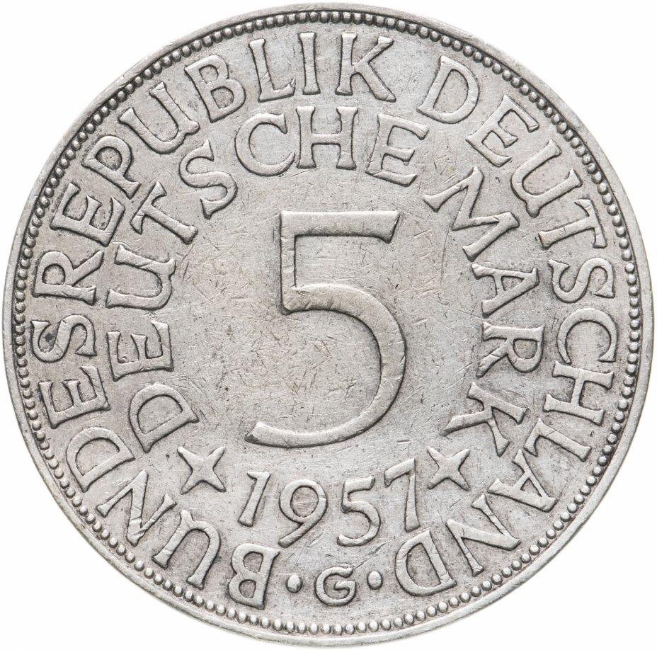 """купить Германия 5марок 1957 G знак монетного двора: """"G"""" - Карлсруэ"""