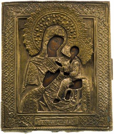 купить Икона Тихвинской Божией Матери в латунном чеканном окладе, дерево, лак, Российская Империя, 1850-1890 гг.