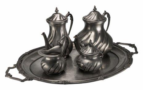 купить Сервиз кофейный (4 предмета и поднос), олово, Германия, 1950-1970 гг.