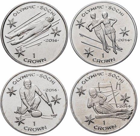 купить Остров Мэн набор 4 монеты  1 крона (crown) 2013 XXII зимние Олимпийские Игры, Сочи 2014