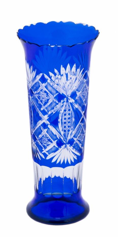 """купить Ваза для цветов из двуцветного стекла с  гравировкой """"ВСХВ"""", цветное стекло, алмазная грань, стекольный завод «Красный май», 1970-1980 гг."""
