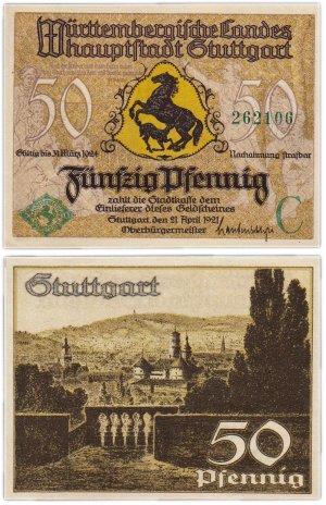купить Германия (Вюртемберг: Штутгарт) 50 пфеннигов 1921
