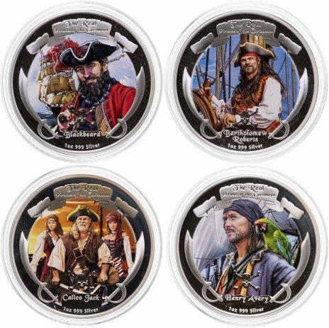 """купить Ниуэ набор из 4-х монет 2 доллара 2011 """"Пираты Карибского моря"""" в футляре с сертификатом"""
