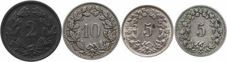 купить Швейцария набор из 4-х монет 1900-1955