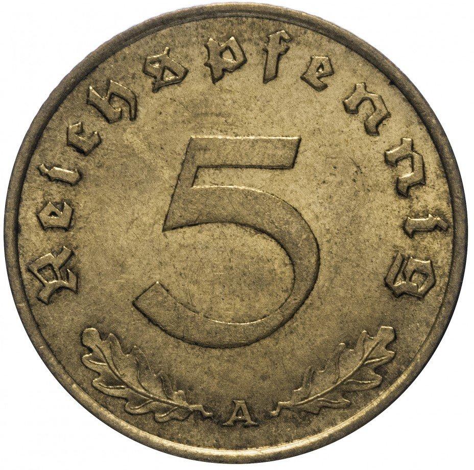 """купить Фашистская Германия (Третий Рейх) 5 рейх пфеннигов 1939 """"А"""""""