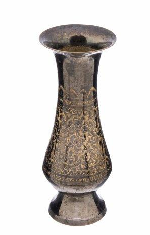 купить Ваза декоративная в восточном стиле с гравировкой в виде цветов, латунь, Индия, 1970-1990 гг.