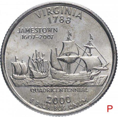 """купить США 1/4 доллара (квотер, 25 центов) 2000 P """"Штат  Вирджиния"""""""