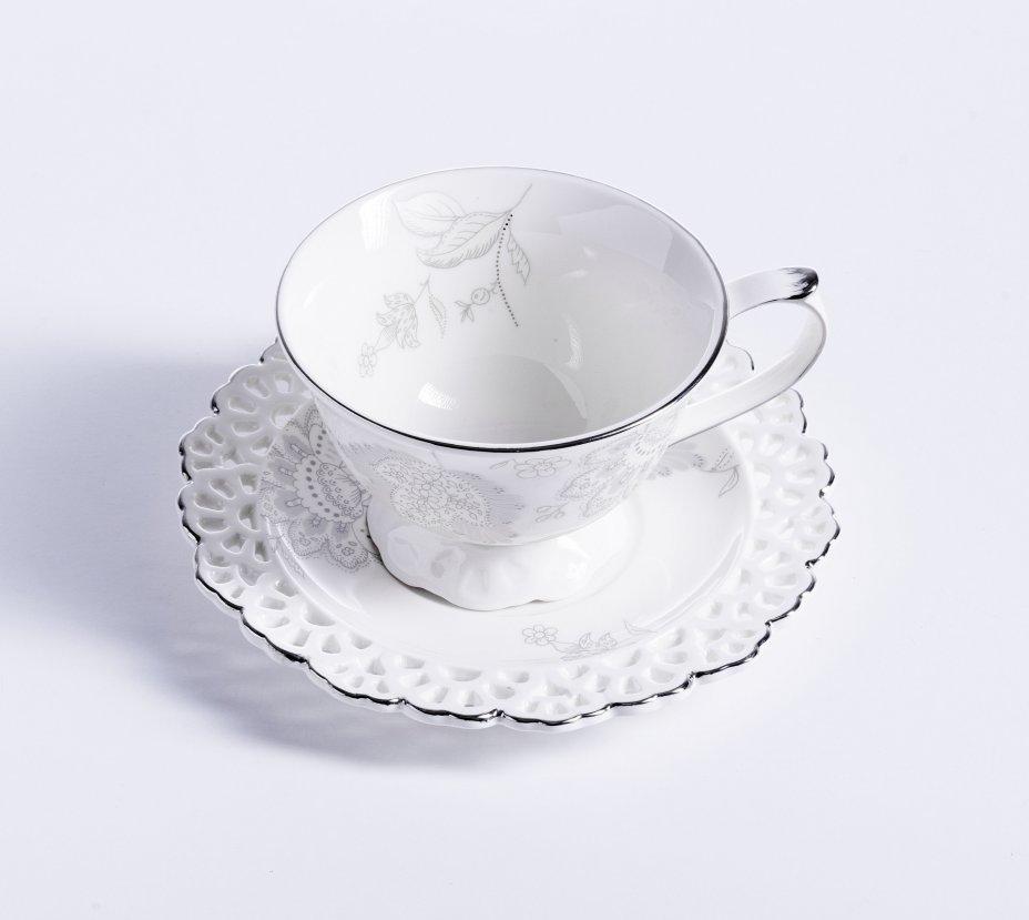 """купить Чайная пара с ажурным декором в родной коробке, фарфор, деколь, серебрение, компания """"Lefard"""", Китай 2015-2020 гг."""