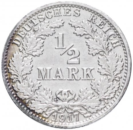 """купить Германия (Германская Империя) 1/2 марки 1917""""А"""""""