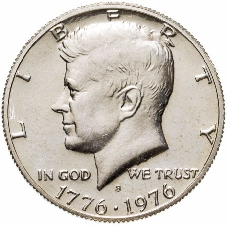 """купить США 50 центов (1/2 доллара, half dollar) 1976 S 200 лет независимости США знак монетного двора """"S"""" - Сан-Франциско"""