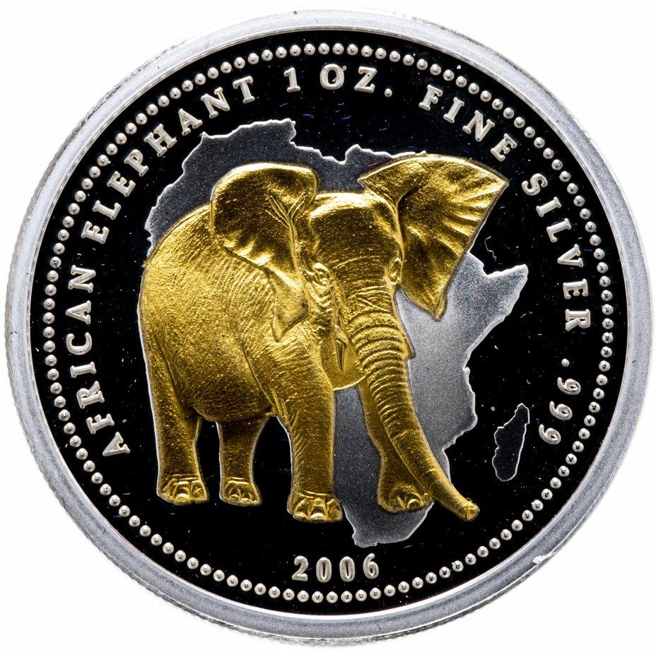 """купить Конго 10 франков 2006 """"Африканский слон"""" с позолотой"""