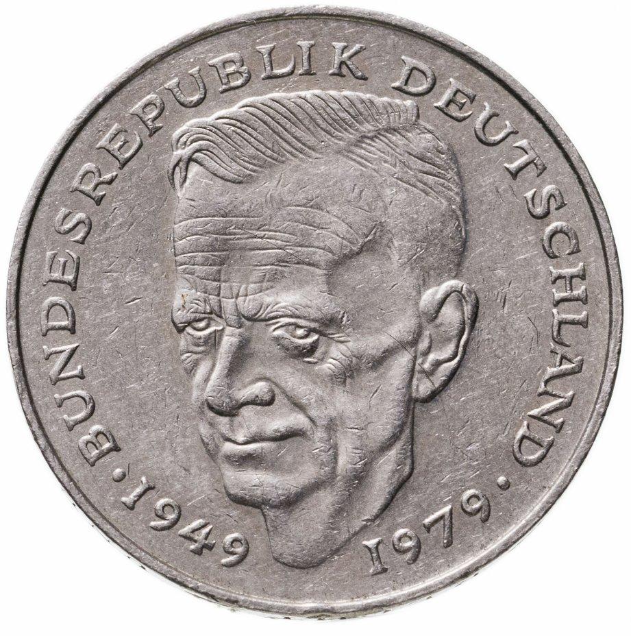 """купить Германия 2 марки 1988 J Курт Шумахер, 30 лет Федеративной Республике (1949-1979) знак монетного двора: """"J"""" - Гамбург"""