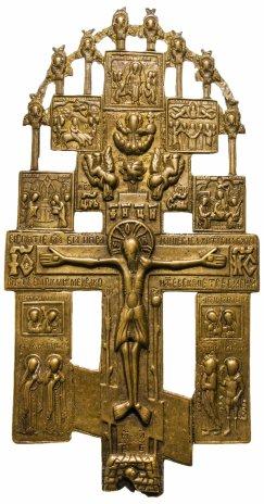 """купить Крест """"Распятие Христово с предстоящими и избранными иконами"""", навершие с херувимами, бронза, литье, Российская Империя, конец 19 в."""