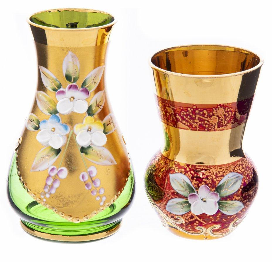 купить Набор из двух декоративных вазочек с рельефными цветами, цветное стекло, роспись, лепка, Чехословакия, 1960-1990 гг.