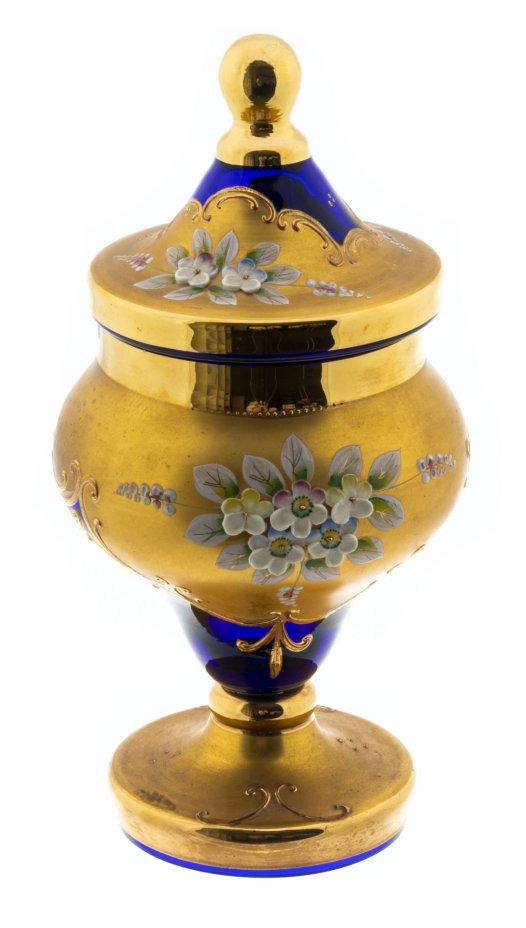 купить Ваза в виде кубка с крышкой украшенная лепным цветочным декором, стекло, золочение, Богемия, Чехословакия, 1970-1990 гг.