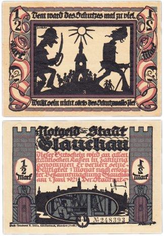 """купить Германия (Саксония: Глаухау) 1/2 марки 1921 """"Милитаризм"""" (436.3/B1/3)"""